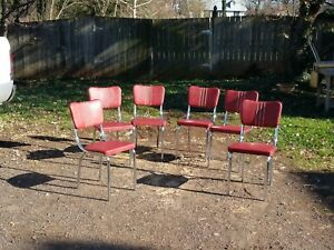 Nice 1950s Mid Century Red Chrome Dinette Kitchen Chair Set 6 Lloyd Menominee Mi