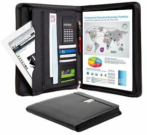 Leather Black 11 Tablet Portfolio Business Zippered Binder With Calculator Pen