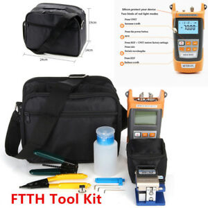 Ftth Tool Kit Fiber Optic Fault Locator Power Meter Tester Cleaver Plier W Bag