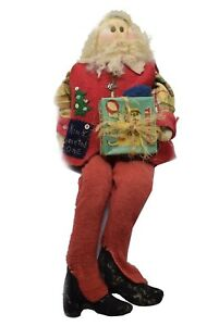 Primitive Handmade Santa Claus Red Vest Kind Hearted W Appliqu One Of A Kind