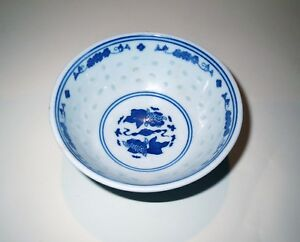 Old Chinese Blue And White Porcelain Koi Fish Bowl Signed