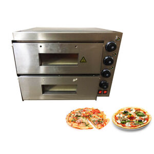 Commercial Bread Making Machines Double Pizza Oven Electric Counter Stone Deck