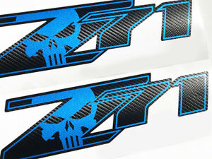 Carbon Fiber Z71 Punisher Chevy Silverado Chevrolet Sierra Stickers Decal 2