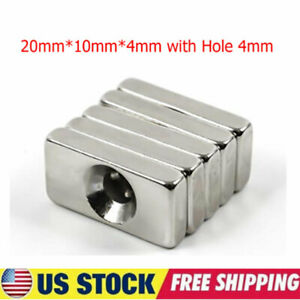 Lot Rare Earth Diy Industrial Strong Neodymium Magnet 20mm 10mm 4mm With Hole Us