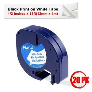 20pk 12mm 4 91331 Black On White Plastic Label Tape Dymo Letratag Label Manager