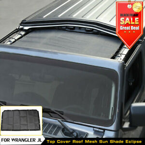 1x Half Roof Mesh Sunshade Top Cover Uv Protection For Jeep Wrangler Jl 2018 Pvc
