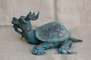 12 Asian Rare Old China Antique Bronze Deer Horn Dragon Turtle Statue