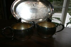 Silver Plate Cream And Sugar With Serving Tray Wm Rogers Silver Company Nice