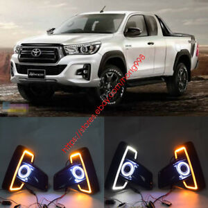 For Toyota Hilux Revo Rocco 2018 Led Drl Daytime Fog Lights Projector angel Eyes