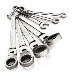 Gearwrench 7 Pc Standard Or Metric Ratcheting Flex Head Combination Wrench Set