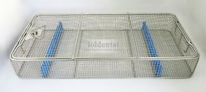 1pc Instrument Cassette Sterilizer Case Stainless Steel Wire Mesh Trays With Lid