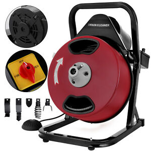 50ft 1 2 Drain Auger Pipe Cleaner Cleaning Machine Heavy Duty Electric Sewage