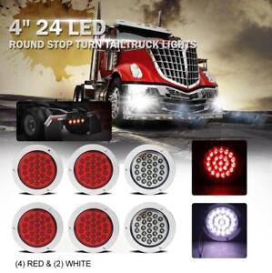 Universal 24 Led 4 4x Red 2x White Round Stop Turn Brake Tail Light Truck Jeep