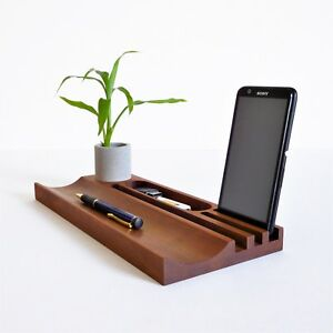 Office Desk Organizer Wood Tablet Stand Android Iphone Concrete Pen Holder
