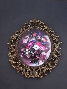 Ornate Brass Oval Photo Picture Frame Convex Glass Italy Made Large 13 5 F02