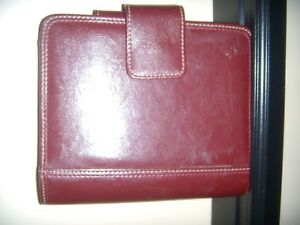 Red Franklin Covey Stitched Compact Leather Binder 6 Rings