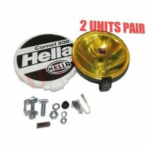 Pair Hella Comet 500 Driving Lamp Yellow Spot Light With Cover Universal Fit Cad