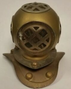 Vintage Antique Miniature Replica Copper And Brass Diving Helmet Paperweight