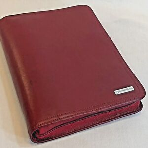 Red Leather Classic Franklin Covey Zip Organizer Planner Refills Log Client File