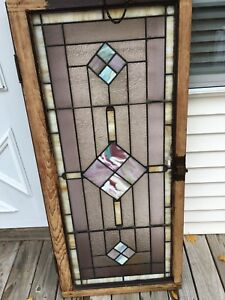 Original Vintage Leaded Stained Glass Transom Window Pick Up Only No Shipping