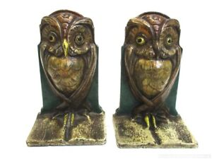 Antique Art Nouveau Cast Iron Owl Bookends No 587 With Original Paint
