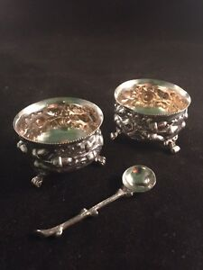 Mappin Webb Sterling Silver Salt Cellars Pair With One Salt Spoon