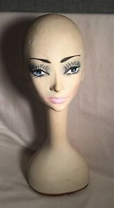 Vintage Long Neck Mannequin Head Painted Face Women Vinyl Resin 20 21 Tall