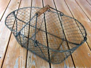Primitive Antique French Wire Shopping Laundry Flower Egg Vegetable Basket