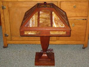 Antique Craftsman Stickley Era Mission Arts Crafts Tiger Oak Slag Glass Lamp