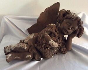 Large Antique Carved Wood Plaster Sleeping Fairy Angel Or Cherub