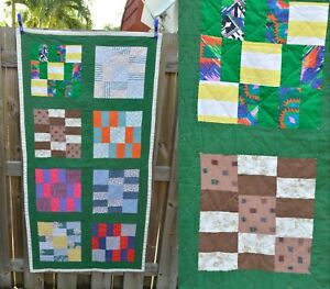 Vtg Crib Quilt Square Patchwork Table Quilt 31 X 62 Cutter Green Rectangle Baby
