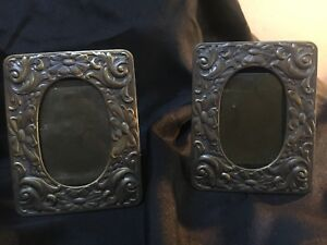 Lot 2 Vintage Miniature Ornate Metal Picture Frames Deco 3 X2 In