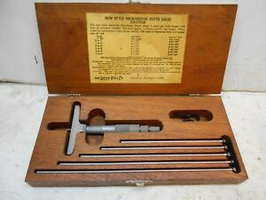 Lufkin New Style Micrometer Depth Gauge Kit With Wood Case Machinist Tools