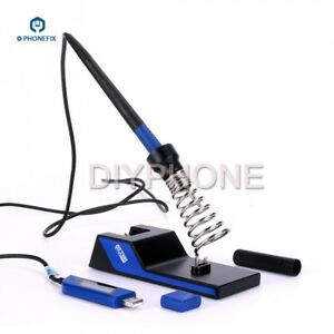 Mini Digital Display Usb 5v 10w Soldering Iron Pen Kit With Stand For Pcb Bga