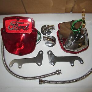 1953 60 Ford F 100 Stainless Taillight Kit Taillights With Script Lenses