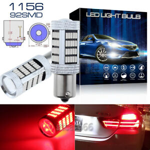 2x Red 1156 5007 7506 Ba15s 92smd High Power Led Projector Tail Brake Light Bulb