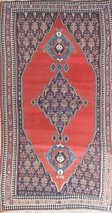 Antique Old Geometric Vintage 7x12 Wool Kilim Kazak Russian Oriental Area Rug