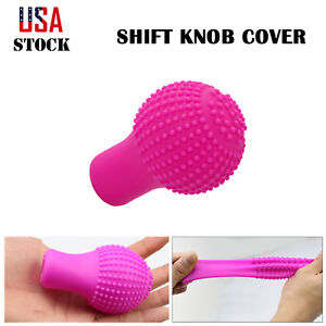 Automatic Car Gear Shift Knob Cover Pink Shifter Lever Grip Boot High Stretch Us