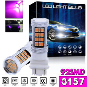 2x 92 Smd Pink Purple 3157 4114 4157 Led Drl Driving Daytime Running Light Bulbs