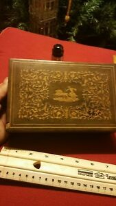Outstanding Antique Inlay Tea Or Trinket Box Roman Chariot 4 Horse Themed