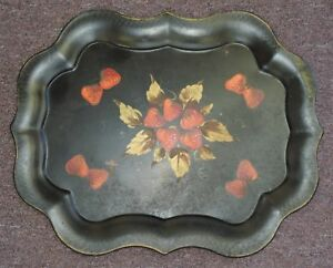 Vintage Art Gift Products Black Metalware Strawberry Design 24 75 Toleware Tray