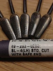 Menlo usa Tools Sl 4 Left Hand Std Cut W Safe End Taper Carbide Burs Lot Of 5