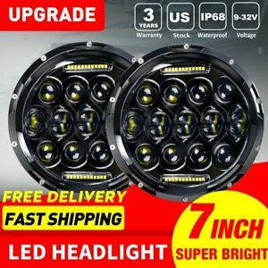 Pair 7 Round Cree Led Headlights Lamp W Drl For Jeep Wrangler Jk Jku Tj Cj Lj