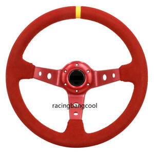 Racing 14inch Auto Jdm Red Suede Leather Deep Dish Drift Sport Steering Wheels