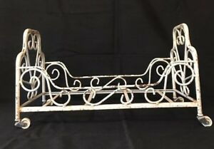 Antique Vtg Wrought Iron Doll Baby Bed Chippy White Shabby Chic With Wheels