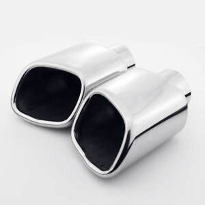 Pair Slant Square Exhaust Tips 2 1 4 Inlet Dual Wall Out 304 Stainless Steel