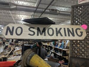 No Smoking Wooden Hand Painted Sign Primitive Folk Art Kitchen Country Farmhouse