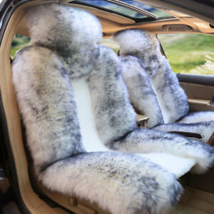 Auto Car Seat Cover Wool Warm Universal Sheepskin Fur Front Cushion For 5 seat