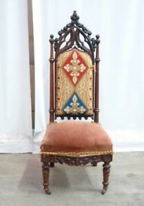 Small Antique French Gothic Side Chair Vanity Chair