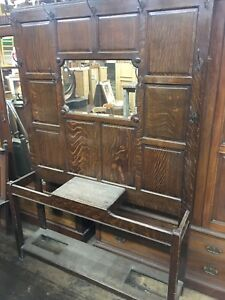 Antique Huge Tiger Oak Hall Tree With Beveled Glass Mirror Quarter Sawn Lobby